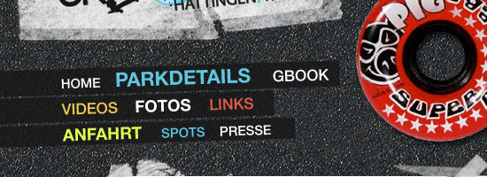 Skatepark Hattingen/Ruhr navigation menu screen shot.