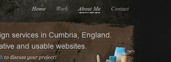 csharpdesign.co.uk navigation menu screen shot.