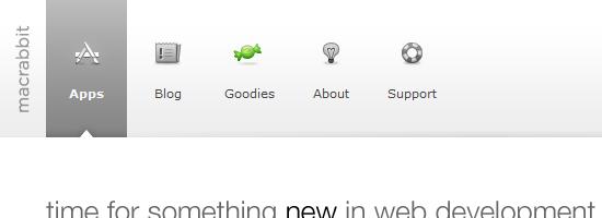 MacRabbit navigation menu screen shot.