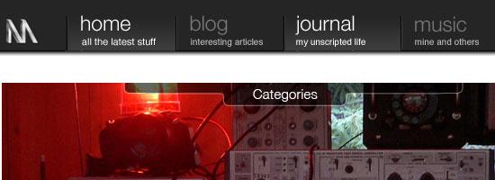 Nuttersmark.com navigation menu screen shot.