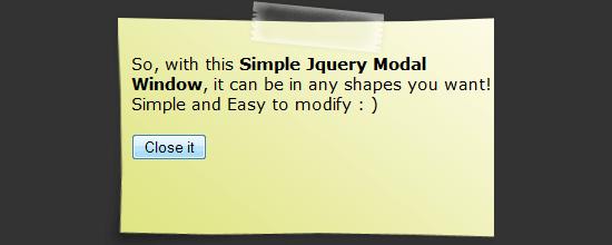 Simple jQuery Modal Window Tutorial tutorial screen shot.