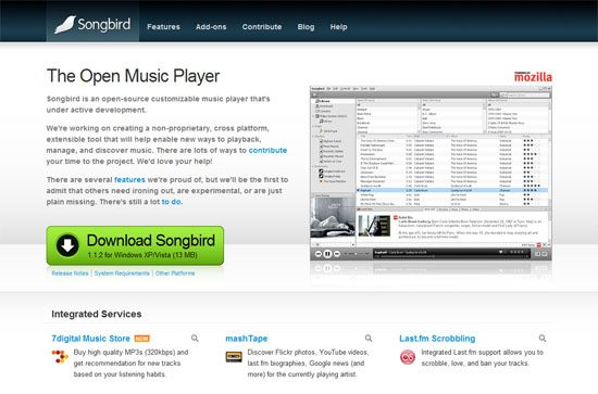 Songbird screen shot.