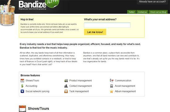 Bandize.com screen shot.