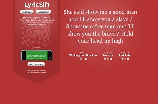 LyricSift screen shot.