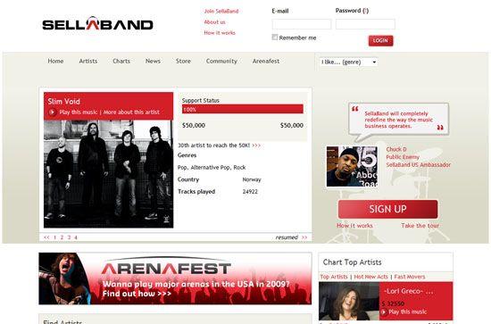 Sellaband screen shot.