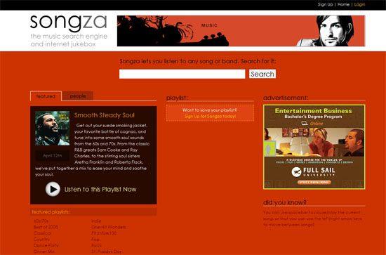 Songza screen shot,.