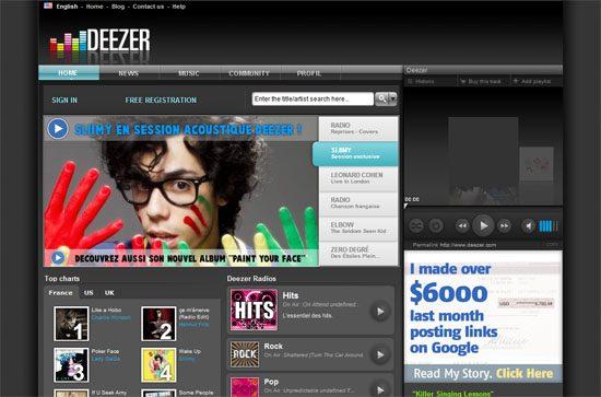 Deezer screen shot.