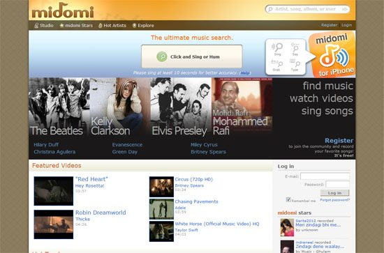 midomi.com screen shot.