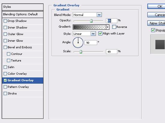 Opacity settings.