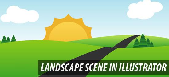 Create an easy landscape scene in Illustrator