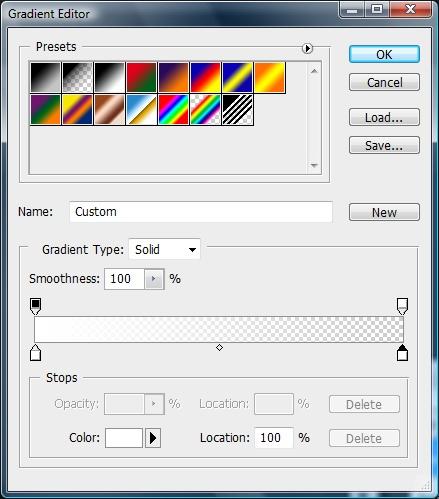 Gradient Editor settings.