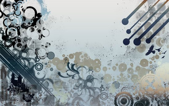 Vectors and grunge wallpaper