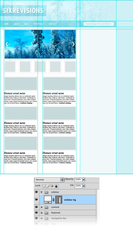 Creating the sidebar