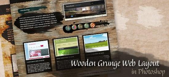 Create a Wooden Grunge Portfolio Web Layout in Photoshop