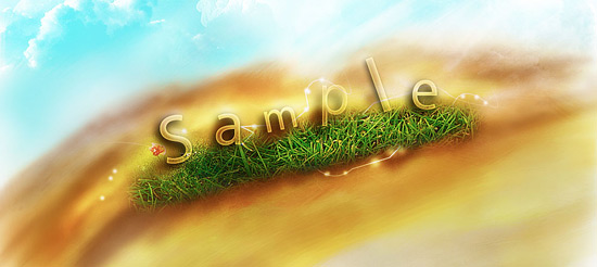 Transparent Text Effect with Fresh Grass
