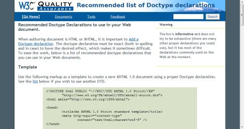 Valid DTD list