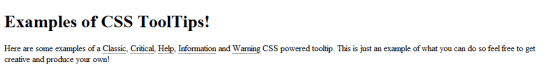 It's amazing what a bit of CSS can do; now the page appears ready to host the tooltips.