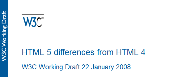 HTML 5 differences from HTML 4