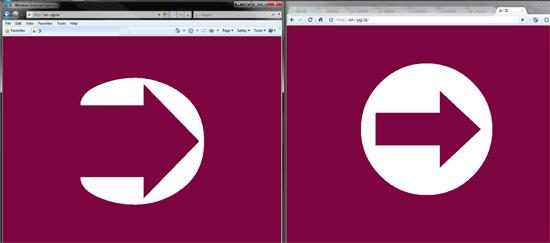IE8 on left vs. Chrome on right