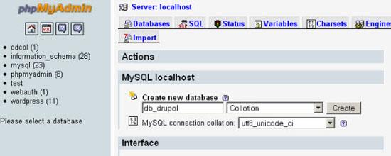 Create a MySQL Database for Drupal