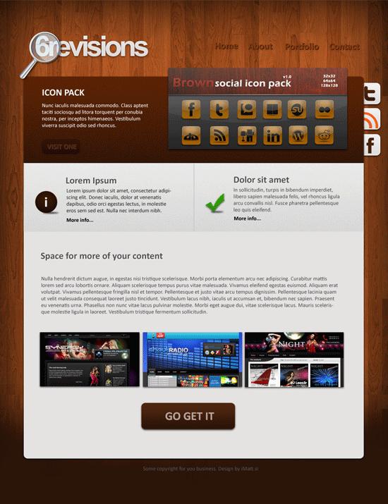 Free psd template 6r wooden portfolio preview maxwellsz