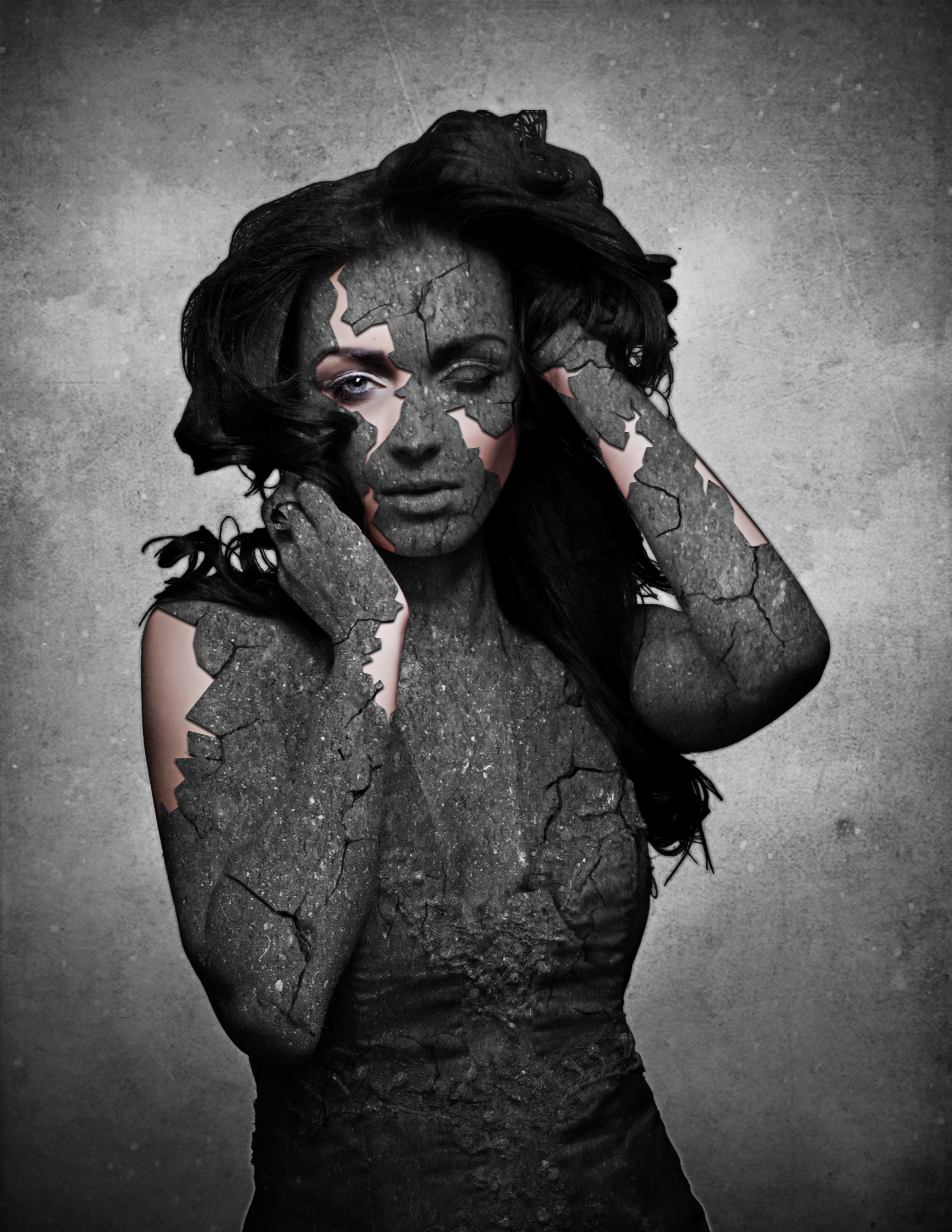 Grunge stone woman photo manipulation in photoshop preview baditri Gallery