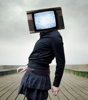 Step 7: Putting the TV on the subject's head