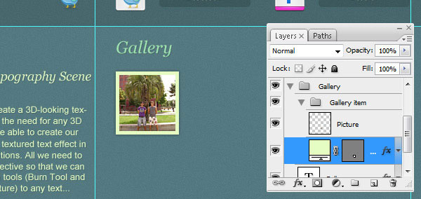 Creating the Thumbnail Gallery Area