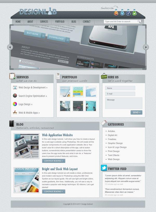 Create A Modern Lab Theme Web Design Photoshop Tutorial