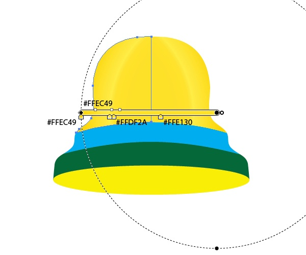Apply the same radial gradient to both upper sides of the bell