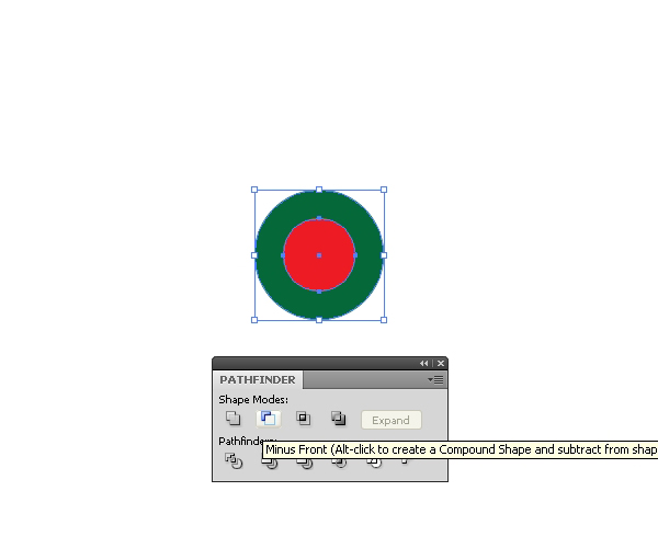 Select both circles and press the Minus Front button
