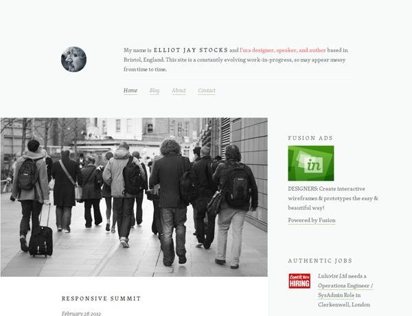 Clean website design example: Elliot Jay Stocks