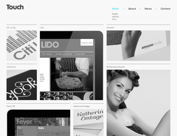 Clean website design example: Touch
