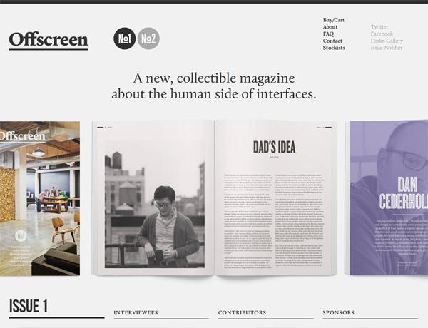 Clean website design example: Offscreen Magazine