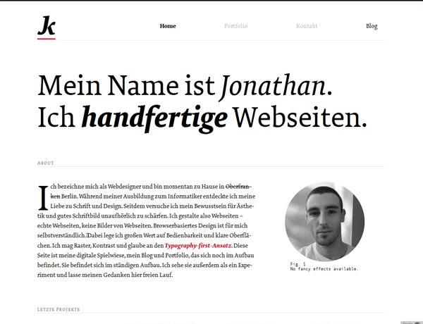 Clean website design example: Jonathan Krause