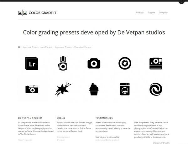Clean website design example: Color Grade It
