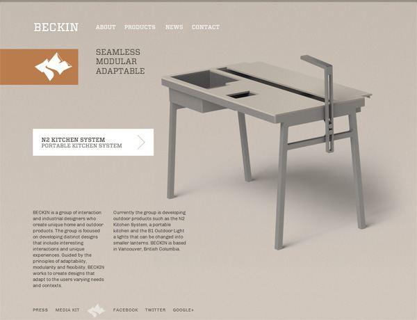Clean website design example: Beckin Design