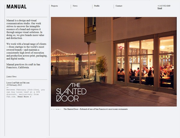 Clean website design example: Manual