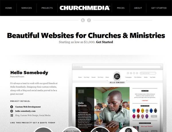Clean website design example: Church Media