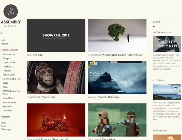 Clean website design example: Assembly
