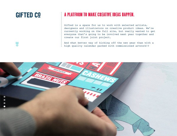Clean website design example: Gifted