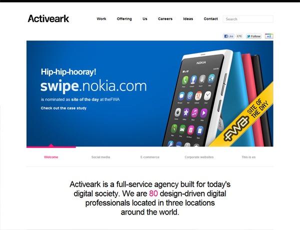 Clean website design example: Activeark