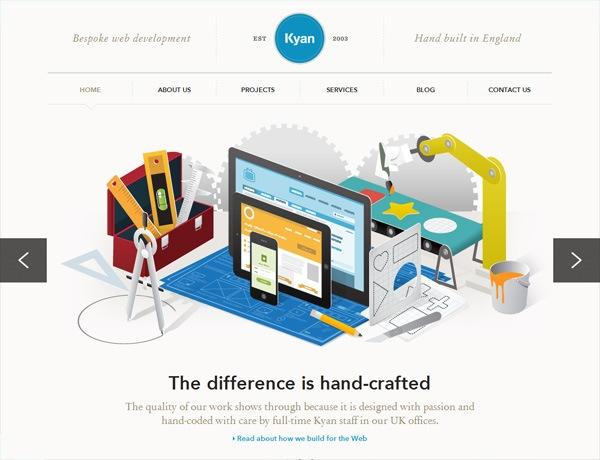 Clean website design example: Kyan