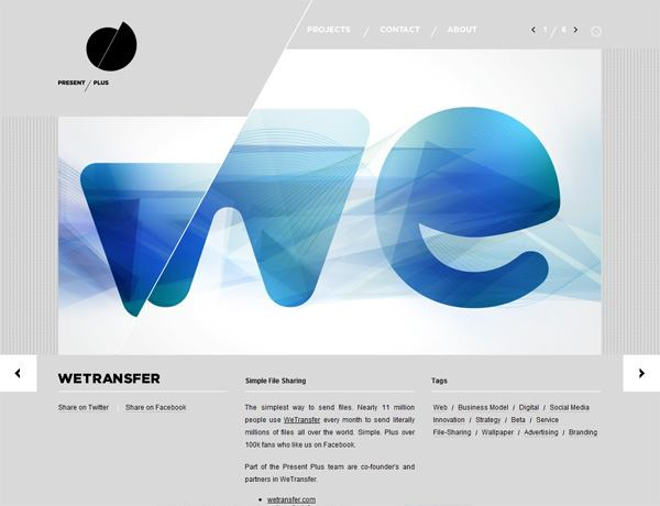 Clean website design example: Present Plus