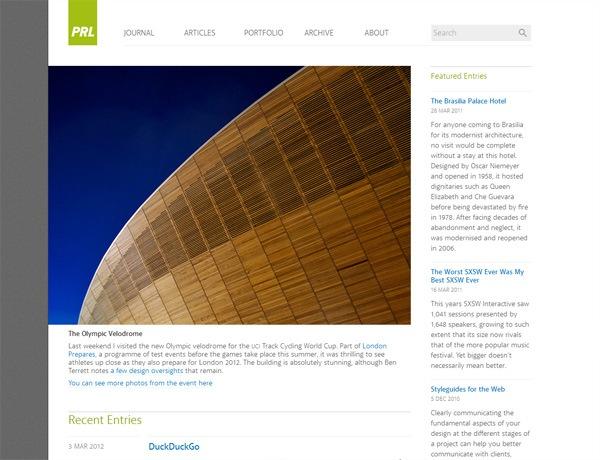 Clean website design example: Paul Robert Lloyd