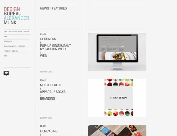 Clean website design example: Design Bureau Alex Munk