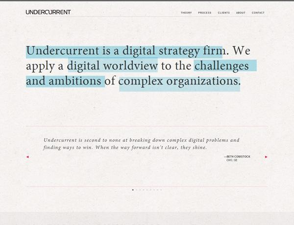 Clean website design example: Undercurrent