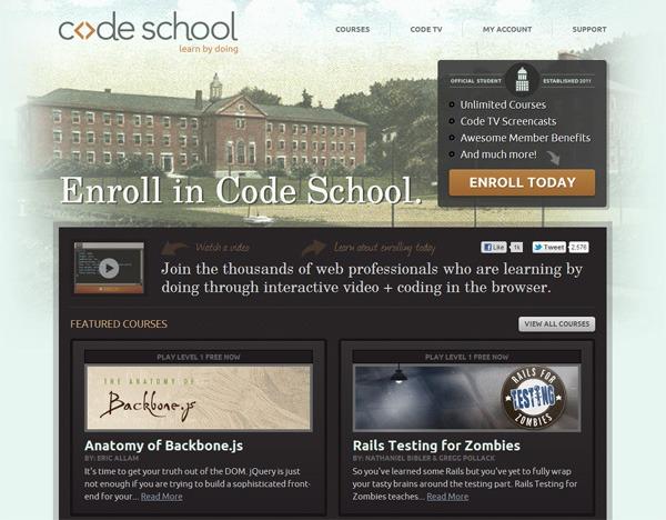 Textured website design example: Code School