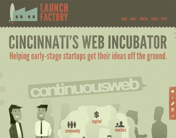Textured website design example: Launch Factory