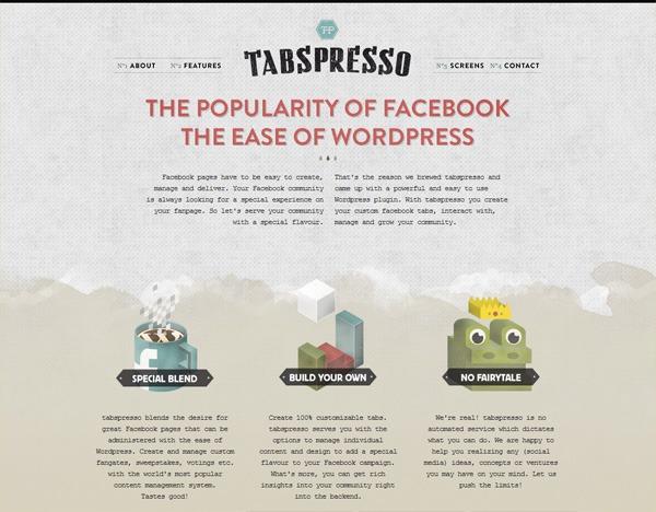 Textured website design example: tabspresso